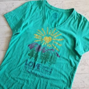 Life Is Good Love Will Move Mountains V- neck tee